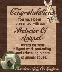 Protector of Animals Award Winner
