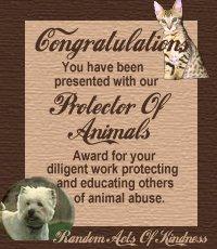 Protector of Animals Award Winner